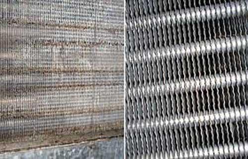 قبل و بعد شستشوی کویل های فن کویل